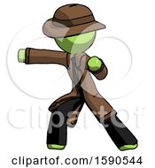 Green Detective Man Martial Arts Punch Left