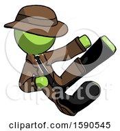 Green Detective Man Flying Ninja Kick Right