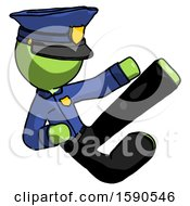 Green Police Man Flying Ninja Kick Right