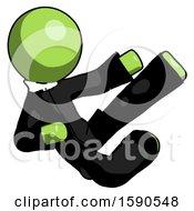 Green Clergy Man Flying Ninja Kick Right