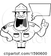 Cartoon Black And White Male Drill Sergeant Holding Up A Finger And Yelling