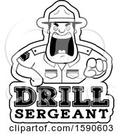 Cartoon Black And White Male Drill Sergeant Shouting And Pointing Outwards Over Text