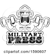 Cartoon Black And White Male Drill Sergeant Holding Dumbbells And Shouting Over Military Press Text