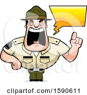 Cartoon Male Drill Sergeant Holding Up A Finger And Yelling