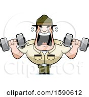 Cartoon Male Drill Sergeant Shouting And Working Out With Dumbbells In Boot Camp