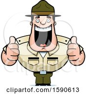 Cartoon Male Drill Sergeant Holding Two Thumbs Up