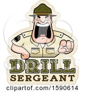 Clipart Of A Cartoon Male Drill Sergeant Shouting And Pointing Outwards Over Text Royalty Free Vector Illustration