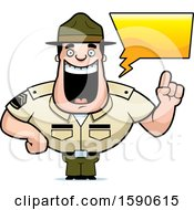 Cartoon Male Drill Sergeant Holding Up A Finger And Talking
