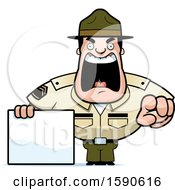 Cartoon Male Drill Sergeant Shouting Pointing And Holding A Blank Sign