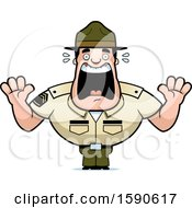 Clipart Of A Cartoon Scared Male Drill Sergeant Royalty Free Vector Illustration