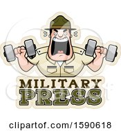 Cartoon Male Drill Sergeant Holding Dumbbells And Shouting Over Military Press Text