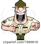 Clipart Of A Cartoon Laughing And Pointing Male Drill Sergeant Royalty Free Vector Illustration