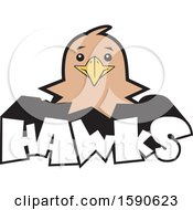 Clipart Of A Hawk Mascot Over Text Royalty Free Vector Illustration