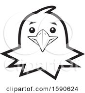 Clipart Of A Black And White Hawk Mascot Face Royalty Free Vector Illustration