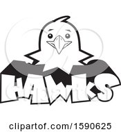 Clipart Of A Black And White Hawk Mascot Over Text Royalty Free Vector Illustration