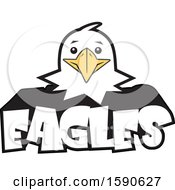 Clipart Of A Bald Eagle Mascot Over Text Royalty Free Vector Illustration
