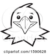 Clipart Of A Black And White Eagle Mascot Face Royalty Free Vector Illustration