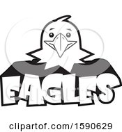 Clipart Of A Black And White Eagle Mascot Face Over Text Royalty Free Vector Illustration