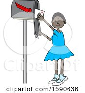Cartoon Black Girl Checking The Mail From A Tall Box