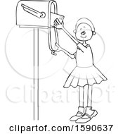 Clipart Of A Cartoon Lineart Black Girl Checking The Mail From A Tall Box Royalty Free Vector Illustration