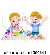 Poster, Art Print Of Cartoon Happy White Boy And Girl Kneeling On Paper And And Painting