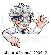 Clipart Of A Cartoon Senior Male Scientist Giving A Waving And Pointing Down Over A Sign Royalty Free Vector Illustration