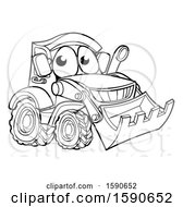 Clipart Of A Lineart Bulldozer Digger Mascot Character Royalty Free Vector Illustration