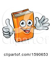 Clipart Of A Happy Book Character Mascot Giving A Thumb Up And Waving Royalty Free Vector Illustration