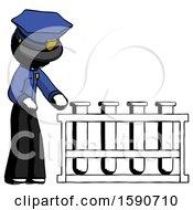 Ink Police Man Using Test Tubes Or Vials On Rack