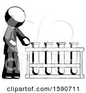 Ink Clergy Man Using Test Tubes Or Vials On Rack