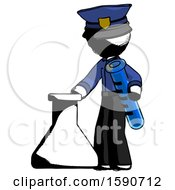 Ink Police Man Holding Test Tube Beside Beaker Or Flask
