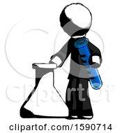 Ink Clergy Man Holding Test Tube Beside Beaker Or Flask