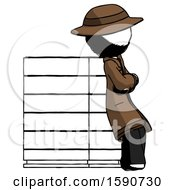 Ink Detective Man Resting Against Server Rack Viewed At Angle