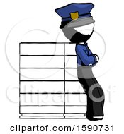 Ink Police Man Resting Against Server Rack Viewed At Angle