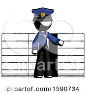 Ink Police Man With Server Racks In Front Of Two Networked Systems
