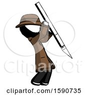 Ink Detective Man Stabbing Or Cutting With Scalpel