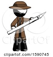Ink Detective Man Holding Large Scalpel