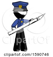 Ink Police Man Holding Large Scalpel