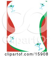 Stationery Border Of Martini Glasses With Olives
