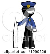 Ink Police Man Standing With Large Thermometer