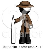 Ink Detective Man Standing With Large Thermometer