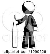 Ink Clergy Man Standing With Large Thermometer