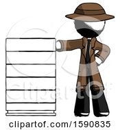 Ink Detective Man With Server Rack Leaning Confidently Against It