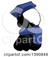 Ink Police Man Sitting With Head Down Back View Facing Left