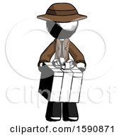 Ink Detective Man Gifting Present With Large Bow Front View