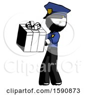 Ink Police Man Presenting A Present With Large Red Bow On It