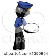 Ink Police Man Looking At Large Compass Facing Right