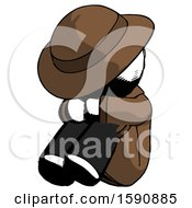 Ink Detective Man Sitting With Head Down Facing Angle Left