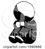 Ink Clergy Man Sitting With Head Down Facing Angle Left