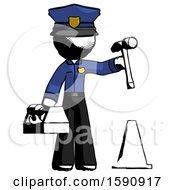 Ink Police Man Under Construction Concept Traffic Cone And Tools